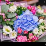 Colorful Bright Bouquets Red Pink Blue Green Yellow Colour From Flowers Of Roses Chrysanthemums Eucalyptus Orchids Stock Photo Alamy