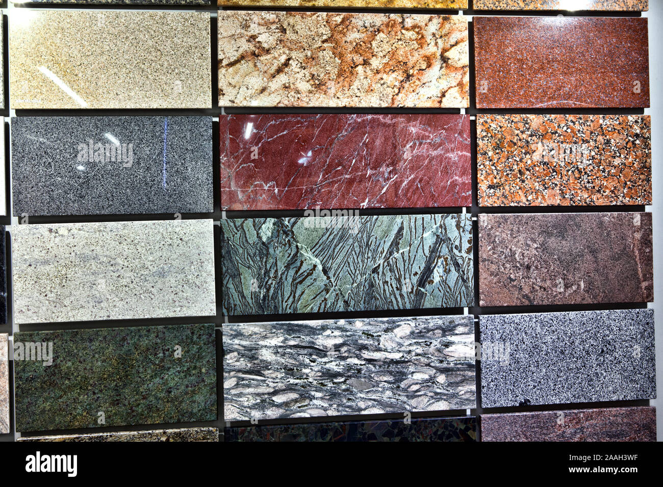 https www alamy com colorful samples of a stone tile in store marble and granite flooring a most popular choice for modern kitchens and bathrooms image333519803 html