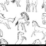 Seamless Wallpaper Horses Vector Illustration Stock Vector Image Art Alamy