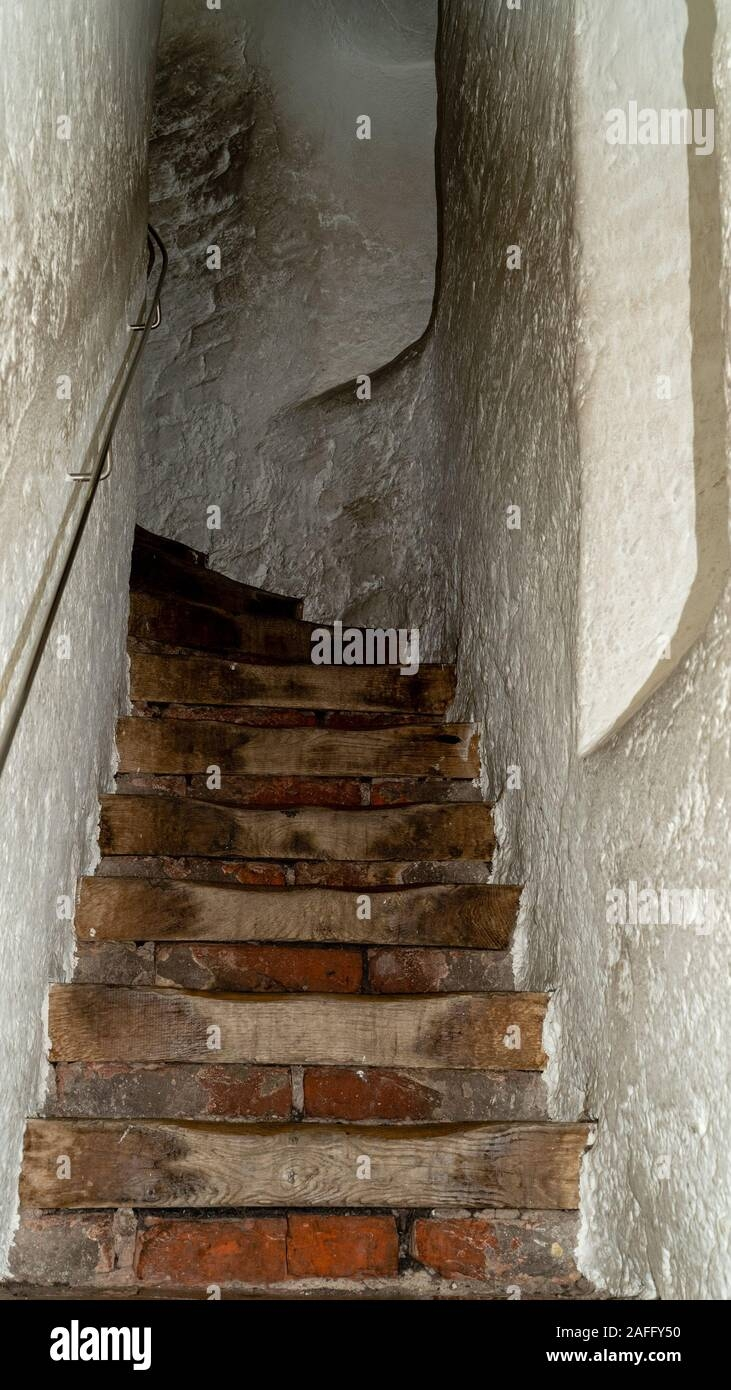 Long And Narrow Stairs In Old Tower In Germany Stock Photo Alamy | Handrail For Narrow Staircase | Exterior | Self Standing Narrow | Free Standing | Victorian | Small Staircase