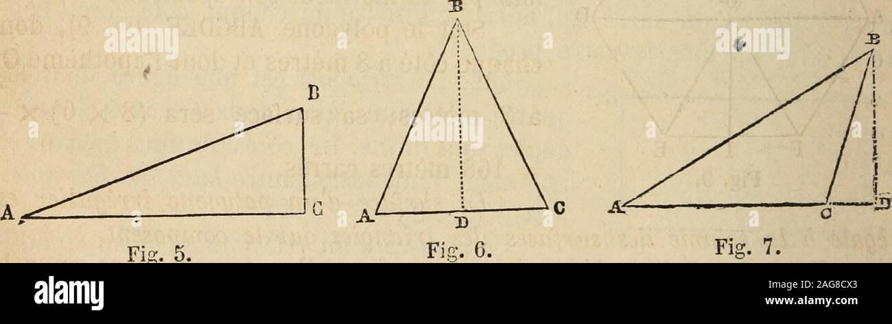 https www alamy com manuel encyclopdique du commerce 5 mtres hauteur ah 8 5 o3 mtres la surface sera x o 19lt50 a35 le triangle est une figure dtermine par trois lignes exempleabc fig 5 6 7 la surface du triangle est gale la moiti du produit de sa base parsa hauteur qui est la perpendiculaire abaisse du sommet dun anglesur le ct oppos pris pour base exemple soit le triangle abc fig 5 dont la base ac a 5 mtres 5x2 et la hauteur bc 2 mtres sa surface sera 5 mtres carrs ce triangle est dit rectangle parce quil contient un angle droit fis 7 soit le tri image337017243 html