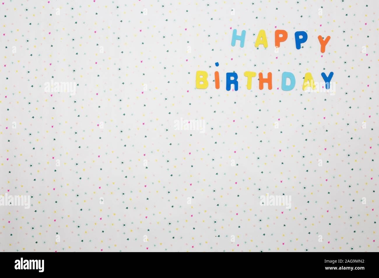 Colorful Happy Birthday Wishes With Stars On White Background Space For Text Happy Stock Photo Alamy