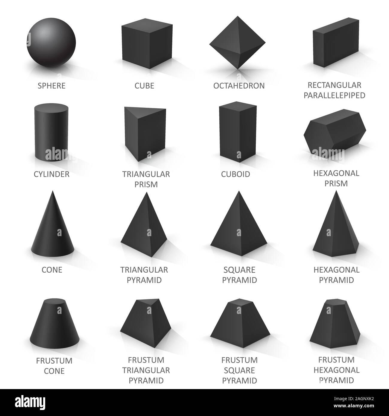 Set Of Basic 3d Shapes Black Geometric Solids On A White