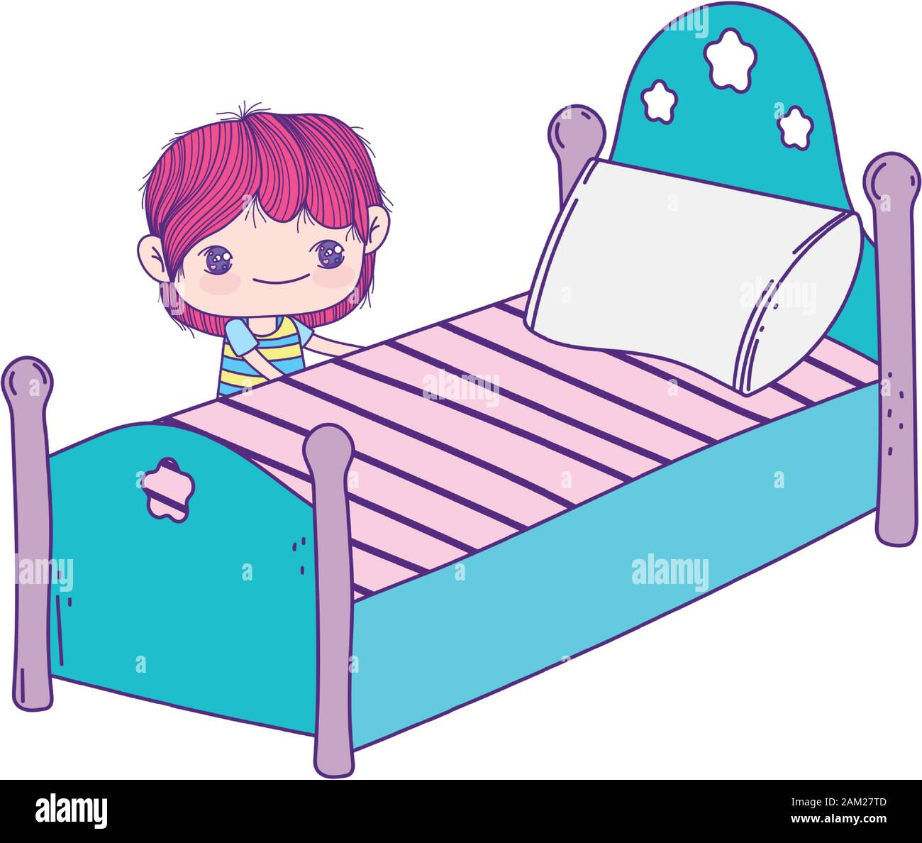 https www alamy com cute little boy cartoon and bed with pillow vector illustration image339340189 html