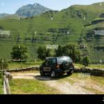 Opel Frontera Offroad Vehicle Green Laning In Yera Valley With Castro Valnera Peak In The Far End Vega De Pas Valles Pasiegos Cantabria Spain Stock Photo Alamy