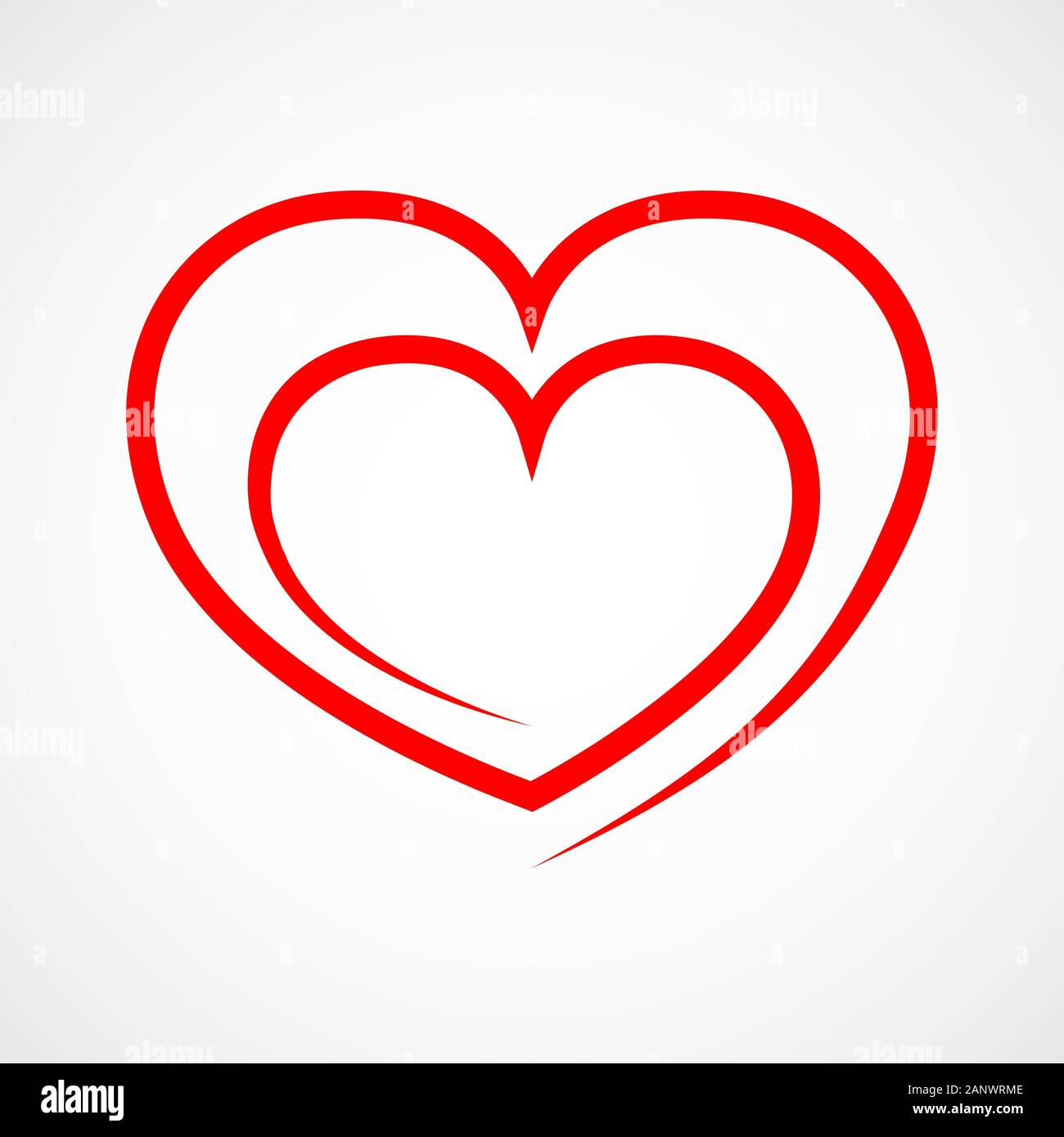 Abstract Heart Shape Outline Vector Illustration Red Heart Icon In Flat Style The Heart As A Symbol Of Love Stock Vector Image Art Alamy
