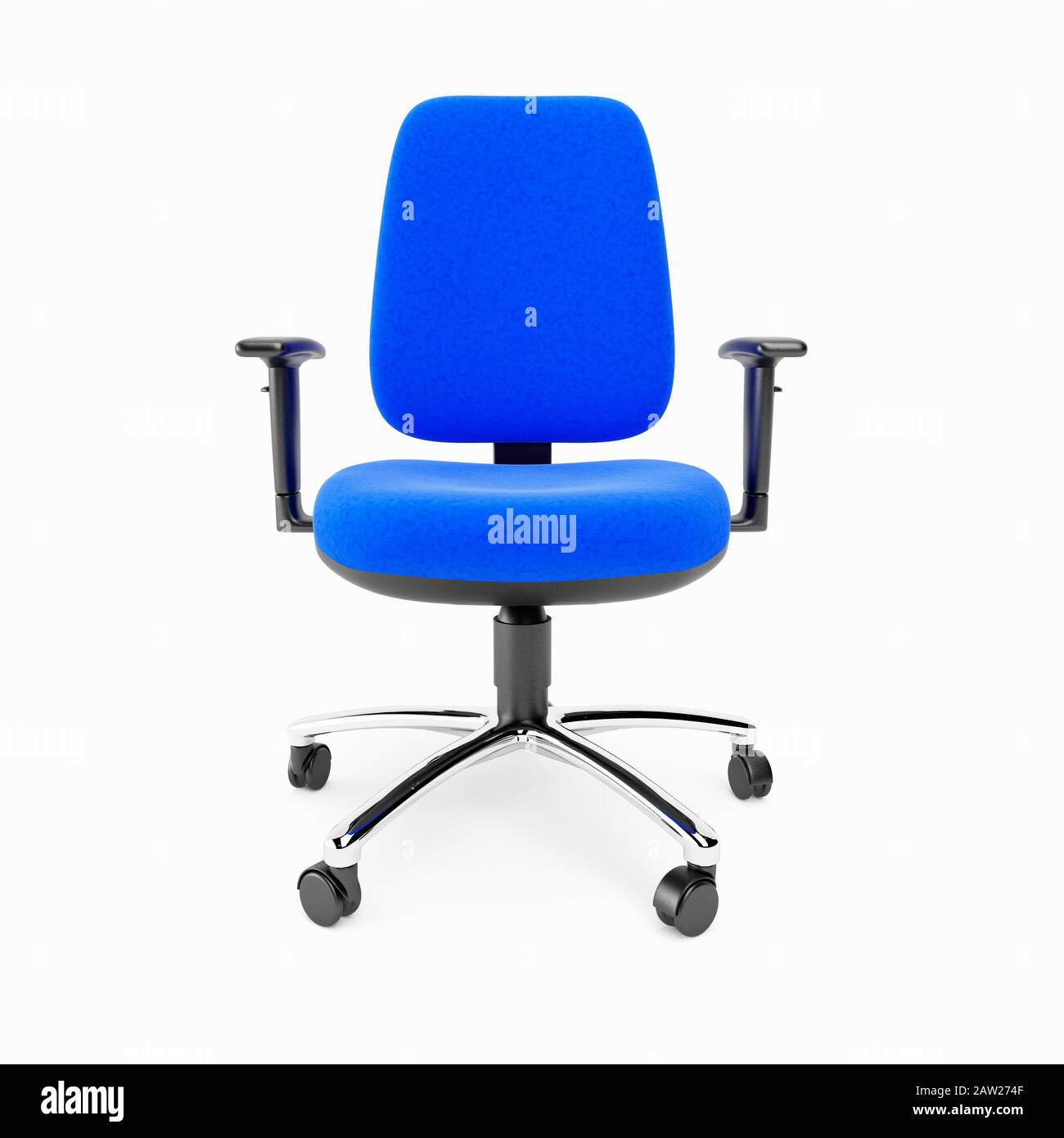 A Blue Basic Office Chair On A White Background Stock Photo Alamy