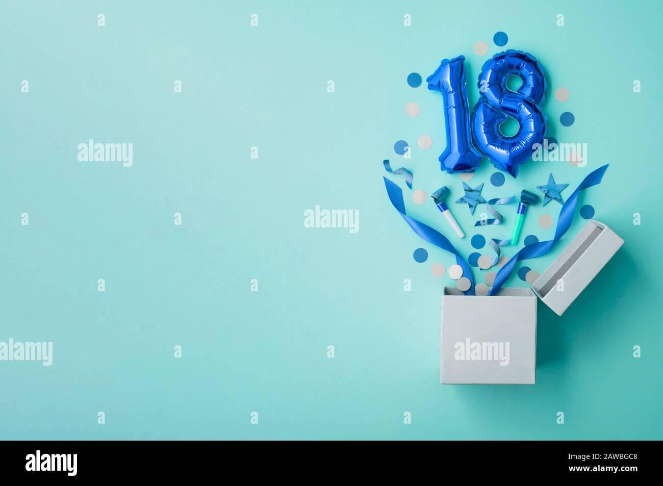 https www alamy com number 18 birthday balloon celebration gift box lay flat explosion image342617752 html