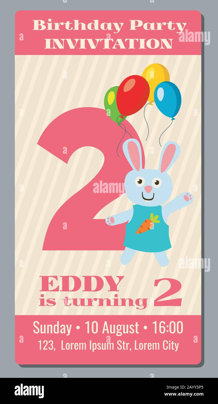 https www alamy com birthday anniversary party invitation card with cute rabbit vector template 2 years old invitation to event birthday illustration card with invitation to second birthday image344188381 html