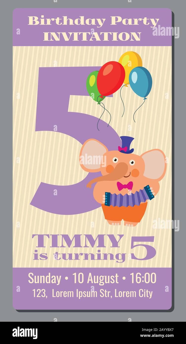 Happy Birthday Lovely Vector Card With Funny Elephant 5 Years Old Festive Rectangular Card With Cartoon Animal Illustration Stock Vector Image Art Alamy