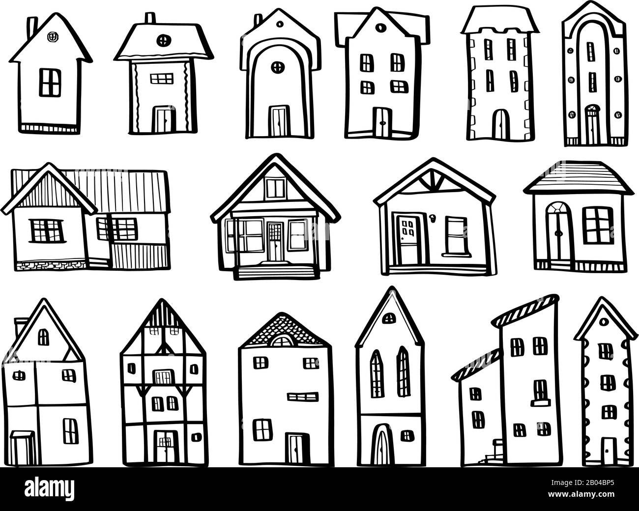 Set Houses In Hand Drawn Doodle Style Isolated On White Background