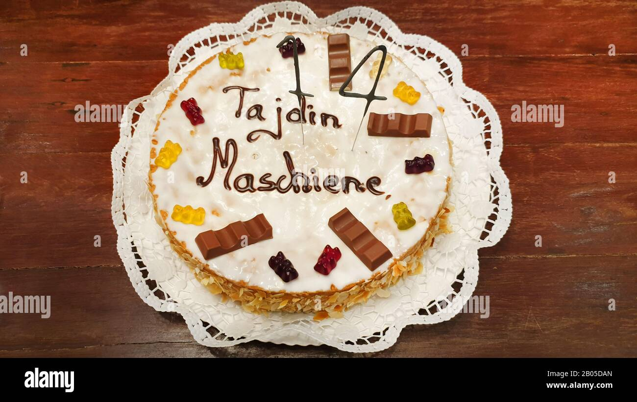 Birthday Cake For A 14 Years Old Teen Letterin His Name And The Wrongly Written Word Maschiene Machine Germany Stock Photo Alamy