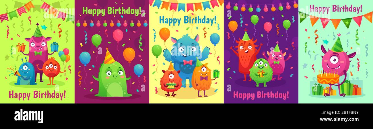 https www alamy com monster birthday greeting card monsters with happy birthday gifts kids party invitation and friendly monster cartoon vector set image345160517 html