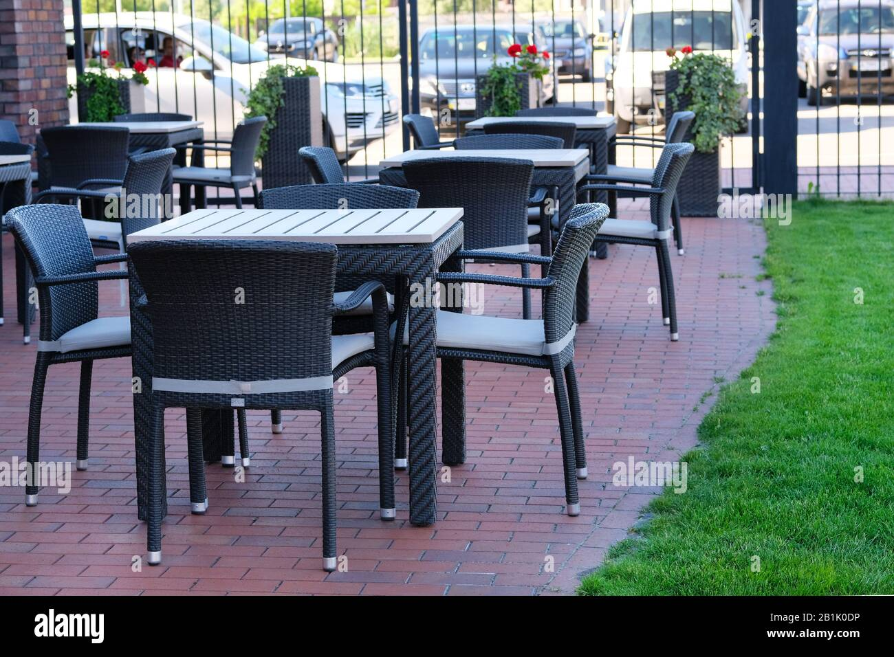 https www alamy com empty coffee terrace with rattan outdoor tables and chairs image345239490 html