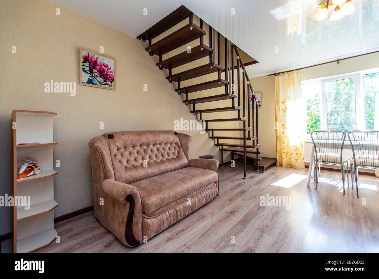 Beautiful Dark Wood Wooden Staircase In The Guest House Leading | Second Floor Stairs Design | Floor Plan | Hall | 1St Floor Veranda | Outside | Most Beautiful