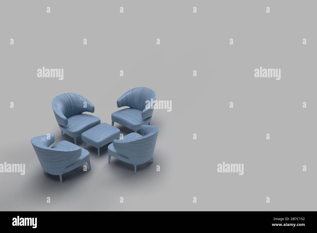 3d Render Of Blue Leather Coated Single Sofa Facing Each Other With Center Table In Grey Background Meeting Concept With Space For Text Stock Photo Alamy