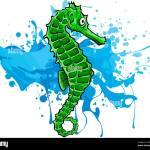 Fish Sea Horse Green Vector Illustration Image Stock Vector Image Art Alamy