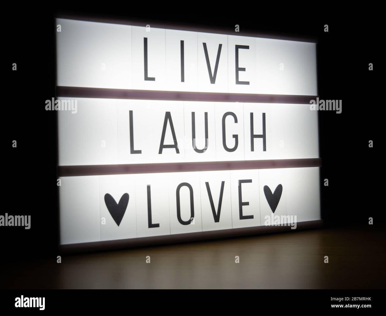 https www alamy com led light box live laugh love message in dark image348967519 html