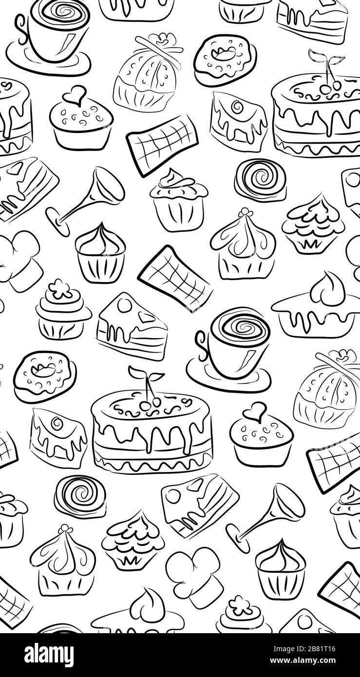 Download Cartoon Cupcake Black and White Stock Photos & Images - Alamy