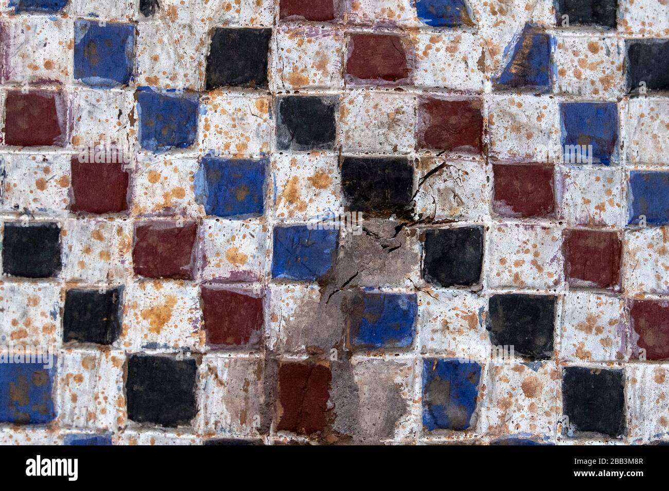 https www alamy com old ceramic tiles wall background white red black blue image351050359 html