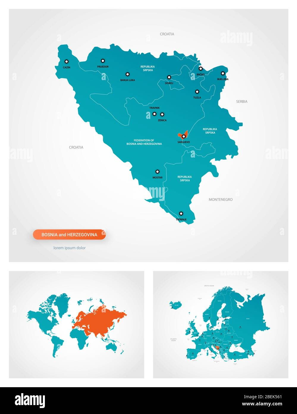 Editable Template Of Map Of Bosnia And Herzegovina With Marks Bosnia And Herzegovina On World Map And On Europe Map Stock Vector Image Art Alamy