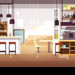Modern Empty Bar Or Coffee Shop Vector Flat Interior Restaurant And Coffee Shop Cafe Indoor Room Illustration Stock Vector Image Art Alamy