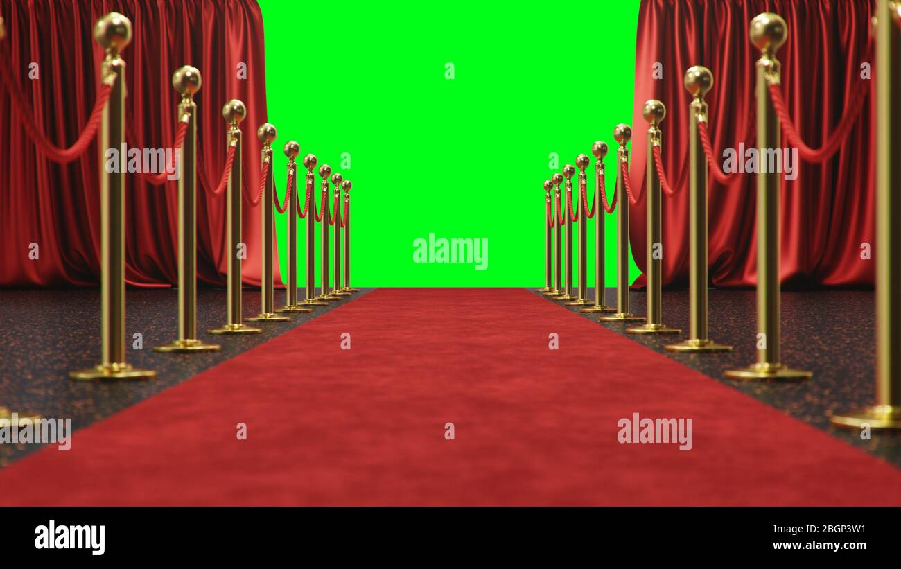 https www alamy com awards show background with red curtains open on green screen red velvet carpet between golden barriers connected by a red rope curtains theater image354527853 html