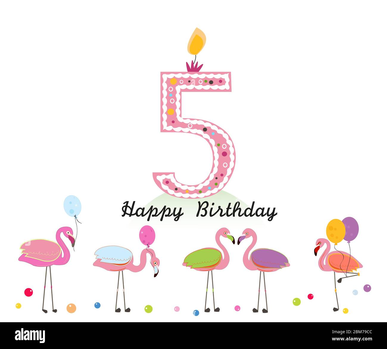 Five Candle Happy Fifth Birthday Candle Letter Exotic Birds Set Of Different Poses Flamingos Colorful Flamingo Stock Vector Image Art Alamy