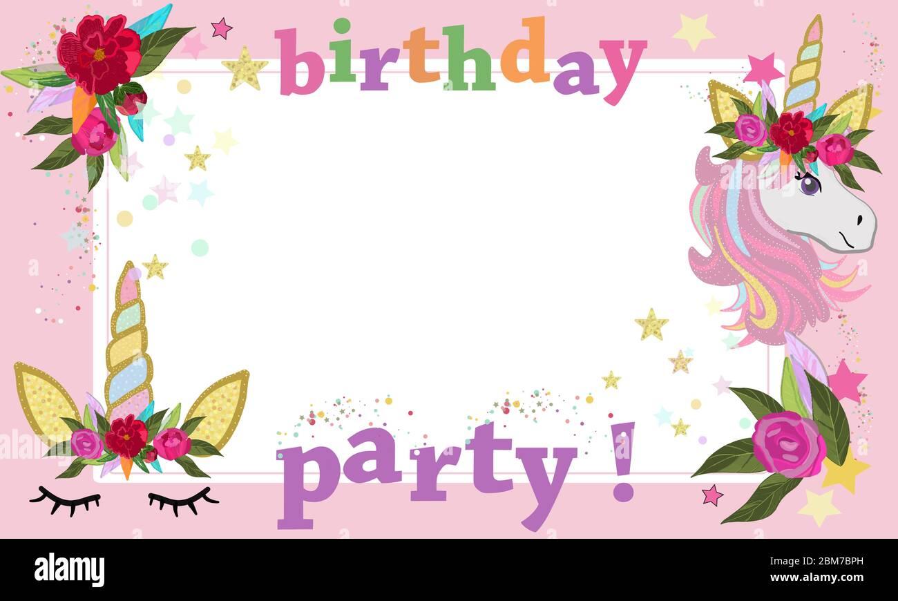 Magical Unicorn Birthday Party Photography Frame Happy Birthday Greeting Card Stock Vector Image Art Alamy