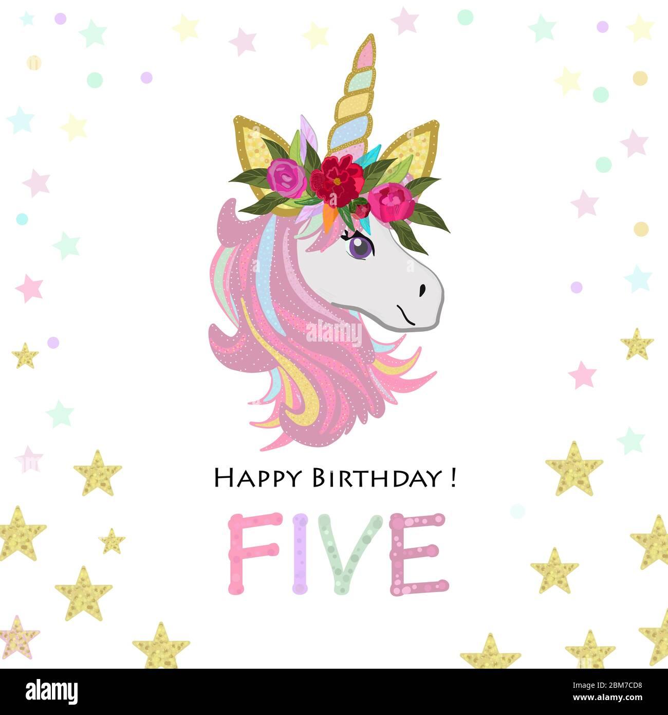 https www alamy com fifth birthday greeting five text magical unicorn birthday invitation party invitation greeting card image356663924 html