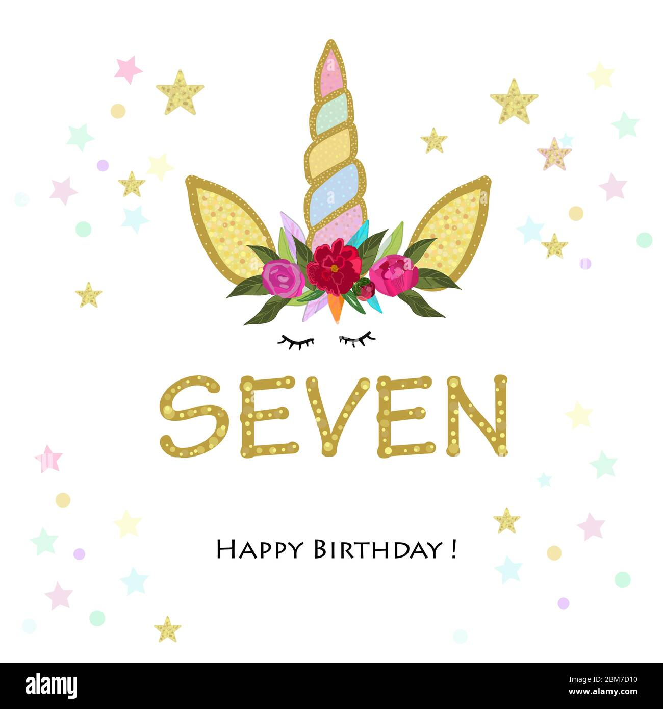 https www alamy com seventh birtday candle seven unicorn birthday invitation party invitation greeting card image356664364 html