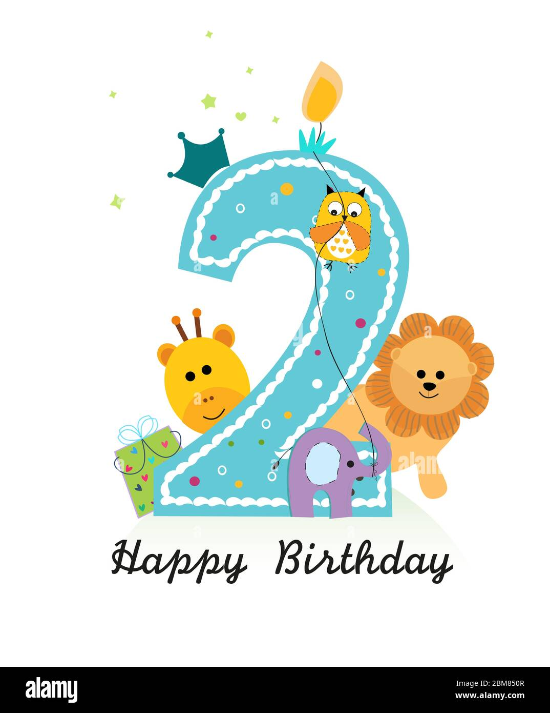 https www alamy com happy second birthday with animals baby boy greeting card vector image356680039 html