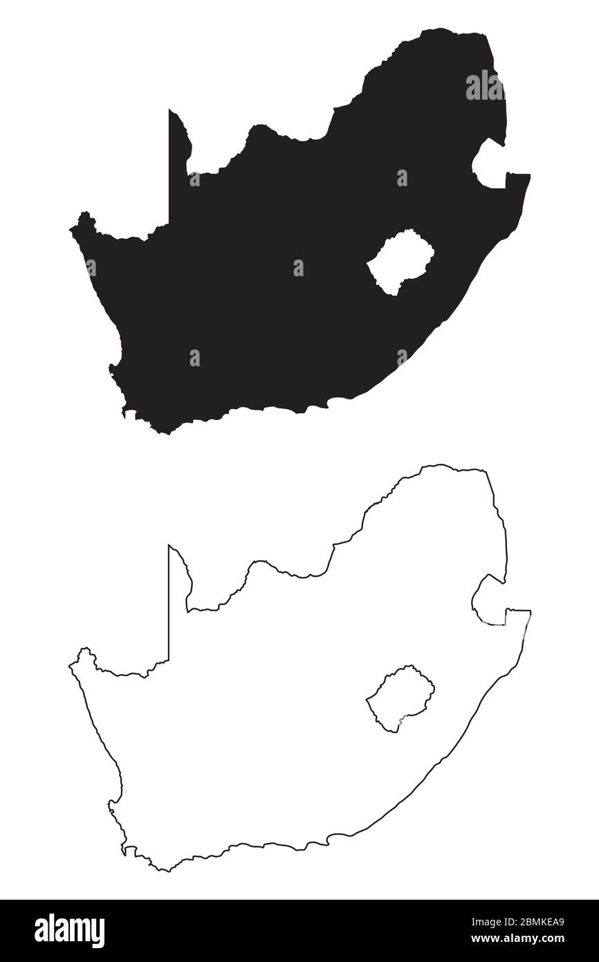 South Africa Country Map Black Silhouette And Outline Isolated On White Background Eps Vector Stock Vector Image Art Alamy