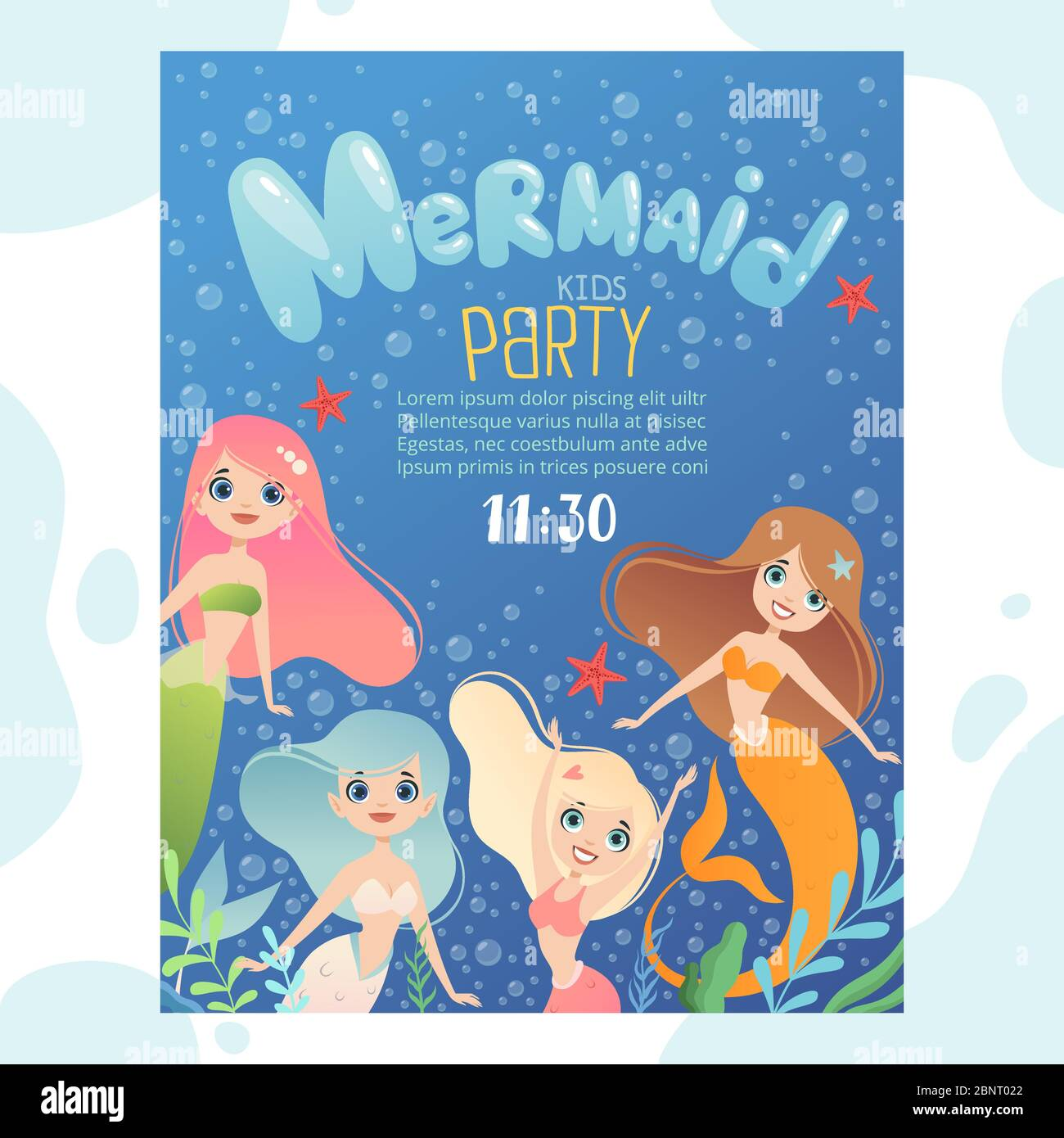 https www alamy com mermaid party invitation design template invite kids birthday cards with funny underwater characters fish and young mermaid princess image357642042 html
