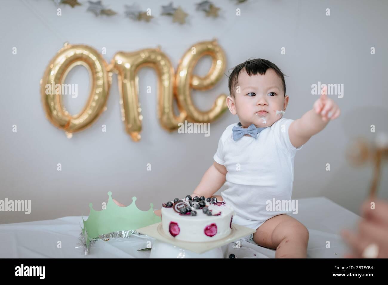 1st Birthday Party Boy Birthday Cake Smash At Home Stock Photo Alamy