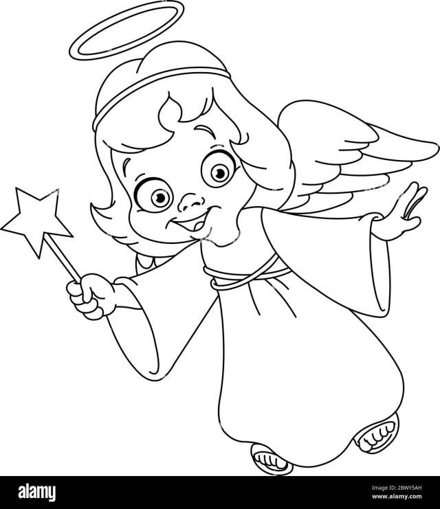 Outlined Christmas angel. Coloring page Stock Vector Image & Art