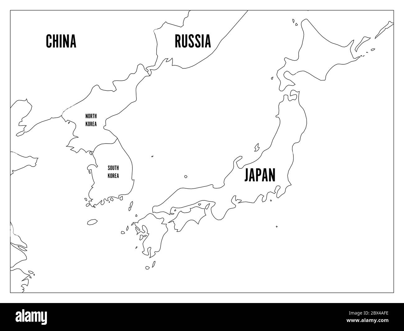Political Map Of Korean And Japanese Region South Korea North Korea And Japan Black Outline Map With Black Labeling On White Background Vector Illustration Stock Vector Image Art Alamy