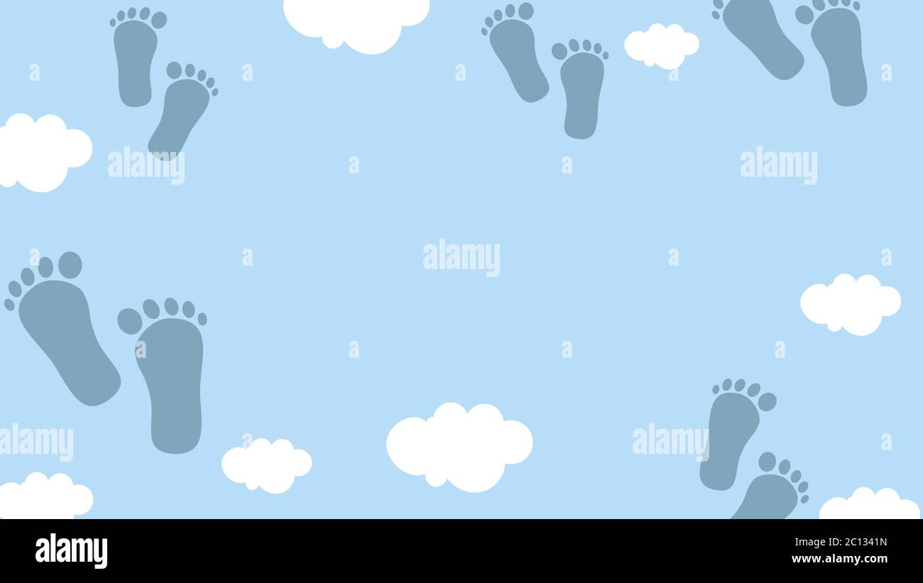 https www alamy com empty banner card or background in blue colors with clouds and feets suitable for greeting cards birthday invitations baby shower welcome baby s image362101425 html