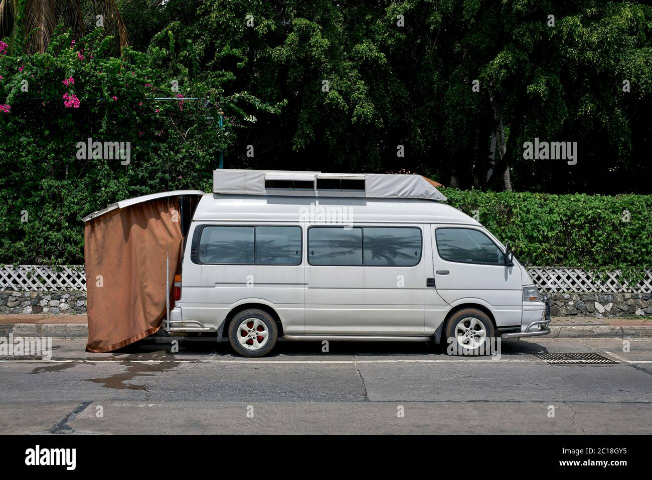 https www alamy com caravanette or camper van with rear fitted shower curtain parked on the street clearly recently used thailand southeast asia image362221305 html