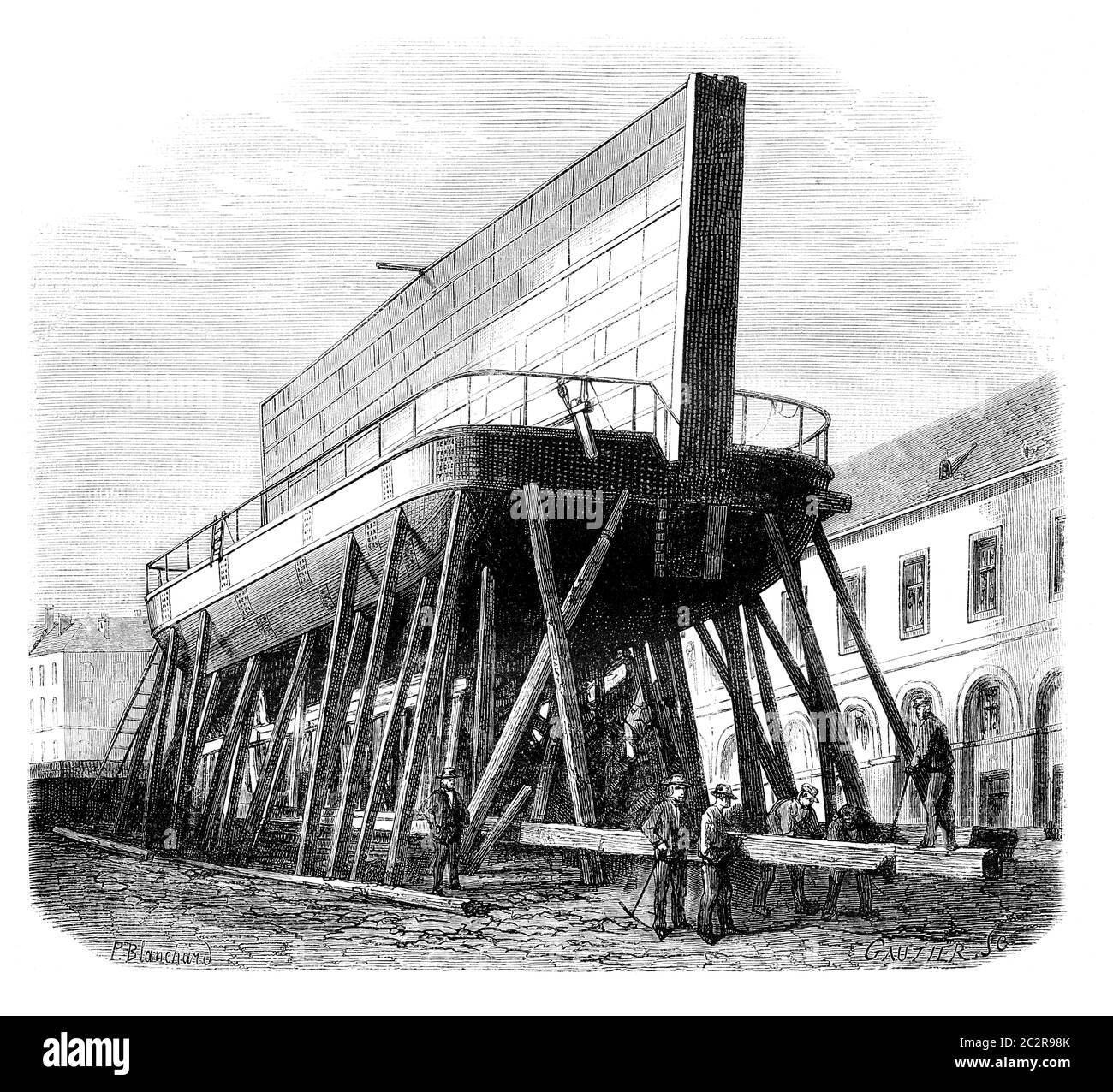 https www alamy com port of brest boat iron gate 1 drawing ph blanchard vintage engraved illustration magasin pittoresque 1875 image363159235 html