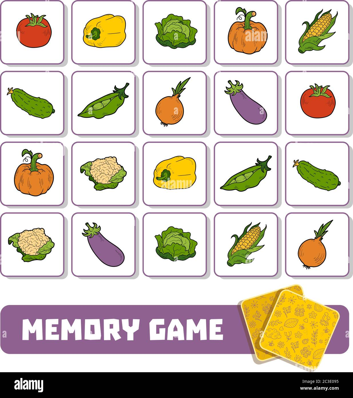Memory Game For Preschool Children Vector Cards With