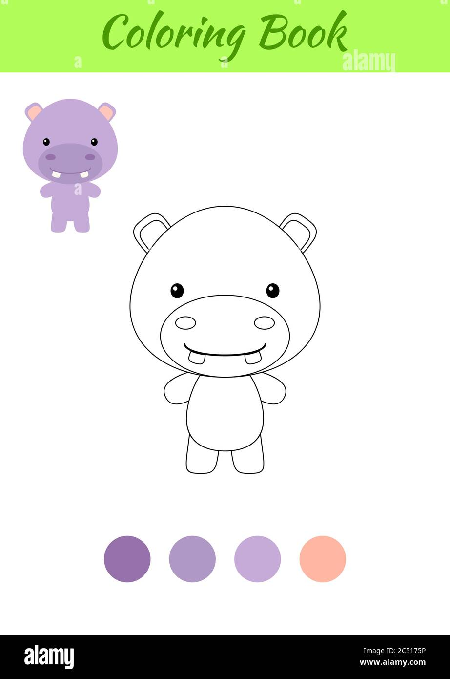 Coloring Page Happy Little Baby Hippo Coloring Book For Kids Educational Activity For Preschool Years Kids And Toddlers With Cute Animal Stock Vector Image Art Alamy