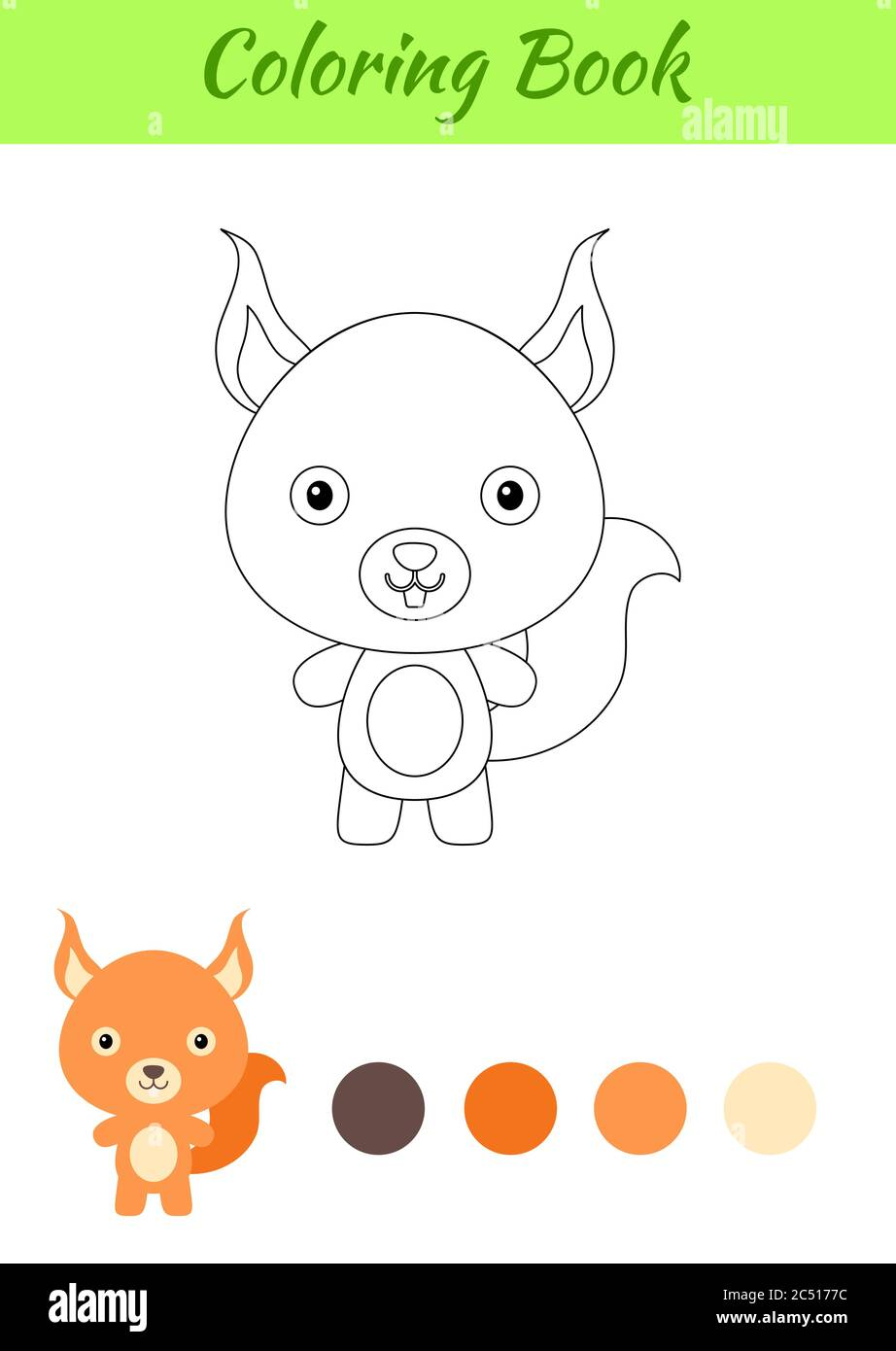 Coloring Page Happy Little Baby Squirrel Coloring Book For Kids Educational Activity For Preschool Years Kids And Toddlers With Cute Animal Stock Vector Image Art Alamy