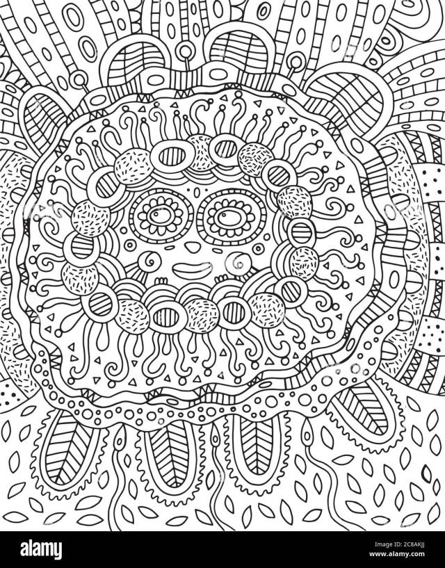 Mayan face. Doodle coloring page for adults with maya Stock Vector