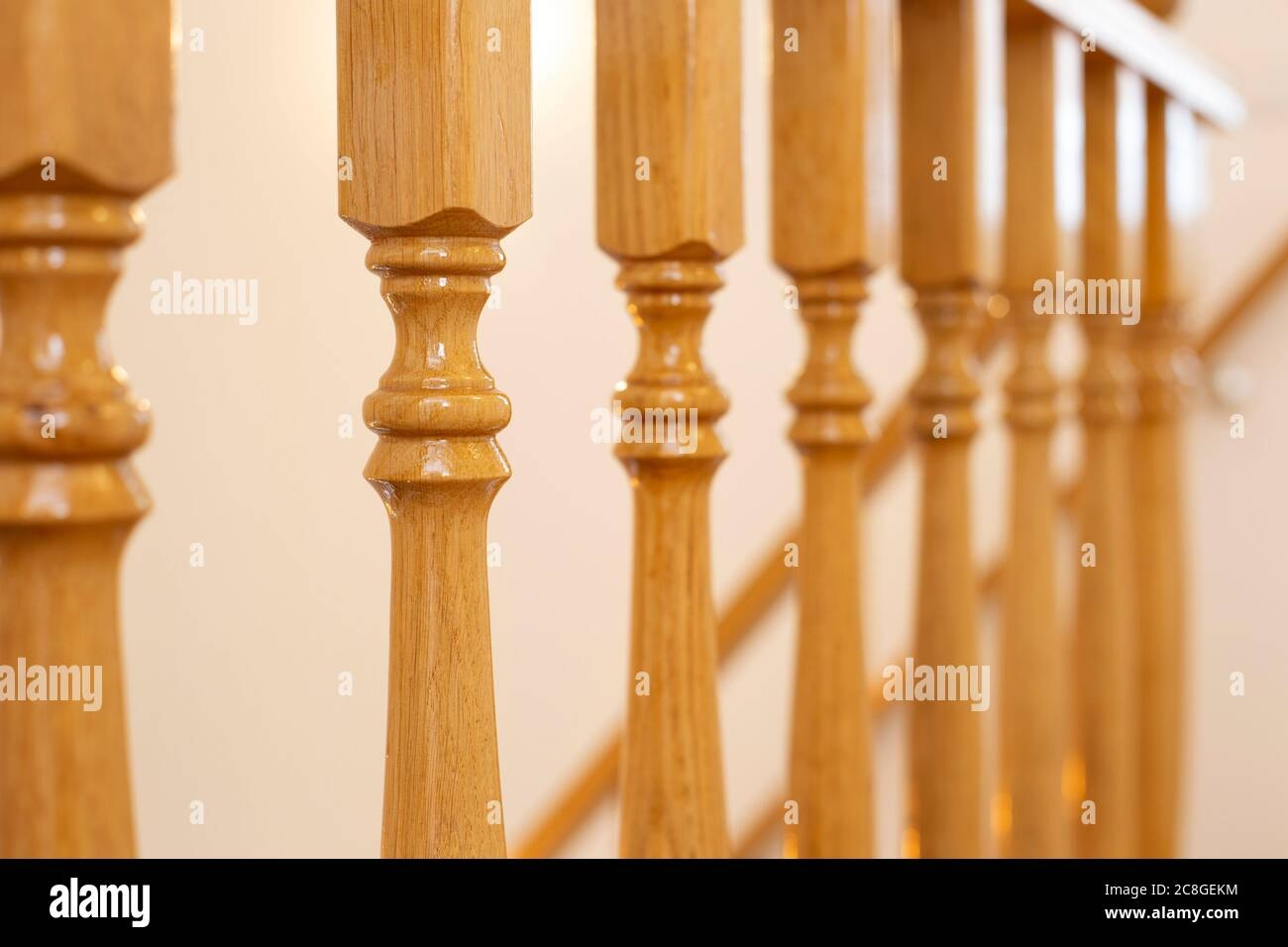 Wooden Railing Of An Luxury Antique Staircase Woodwork Elements   Wooden Railing Designs For Stairs   Handrail   Different Kind Wood   Combination Wood   Interior   Indoor