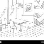 Cafe Interior Graphic Black White Sketch Illustration Vector Stock Vector Image Art Alamy