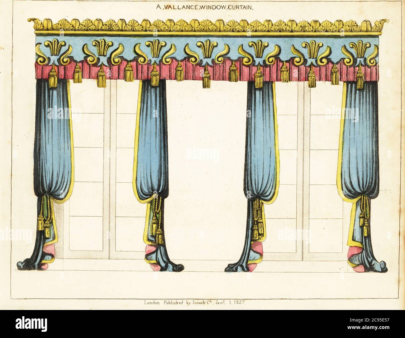 https www alamy com a vallance window curtain window with ornate pelmet or valance covering the top curtain rod blue curtains and gold cords and tassels handcoloured copperplate engraving from george smiths the cabinet maker and upholsterers guide jones and co london 1828 george smith was upholsterer and furniture draughtsman to his majesty the prince of wales later king george iv circa 1786 1826 image367070515 html