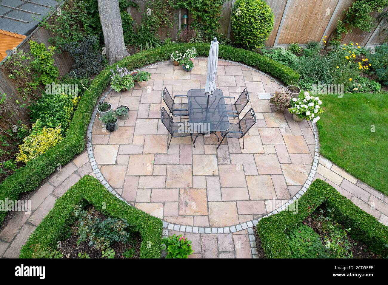 https www alamy com circular garden patio with freshly jet washed paving stones image369529426 html