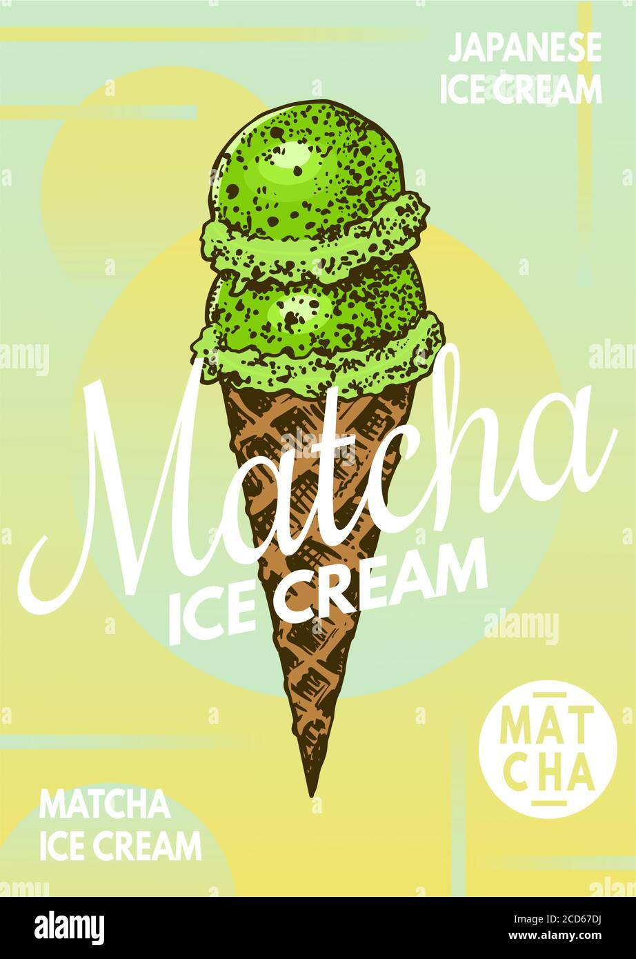 https www alamy com matcha green tea ice cream poster japanese banner engraved hand drawn vintage sketch for menu or book image369545838 html