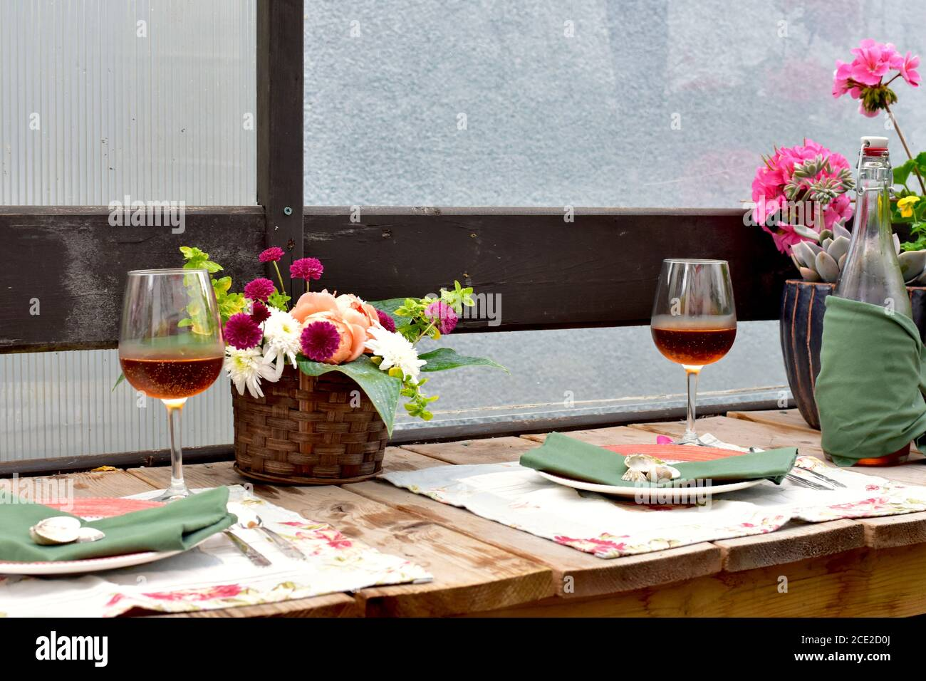 https www alamy com secluded outdoor patio dining cafe with beautiful rustic garden decor for romantic summer evening dinner image370077026 html